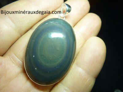 Pendentif obsidienne oeil celeste monture argent 925 r 7528