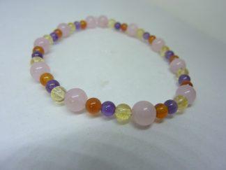Bracelet Quartz rose-cornaline-citrine-améthyste joie tendresse intuition