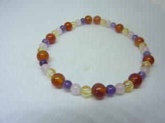 Bracelet citrine-cornaline-améthyste-quartz rose joie tendresse intuition
