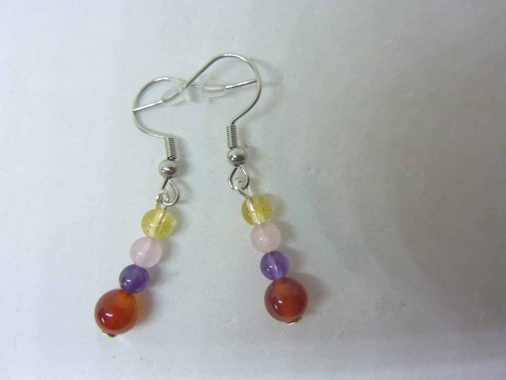 Boucles d'oreilles Amethyste-cornaline-citrine-quartz rose joie tendresse