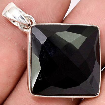 Pendentif Onyx noir monture argent 925 ref 5948