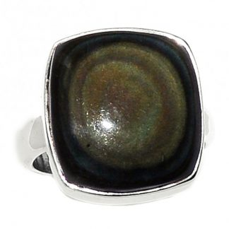 Bague obsidienne oeil celeste argent 925 taille 55 1/4 ref 3376