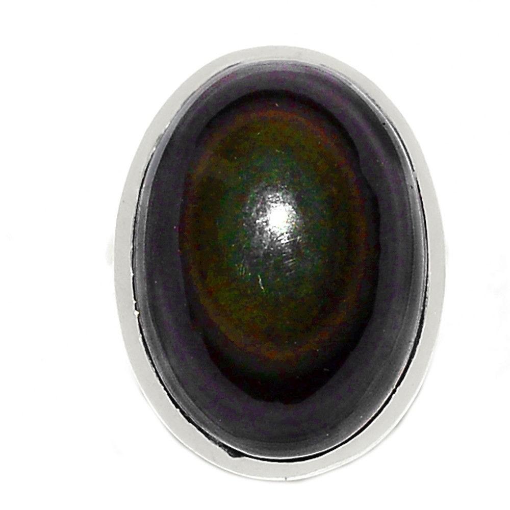 Bague obsidienne oeil celeste argent 925 taille 55 1/4 ref 9870