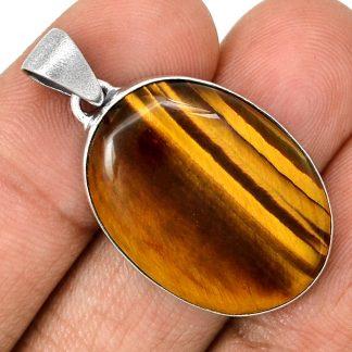 Pendentif Oeil de tigre monture argent 925 top protection ref 1142
