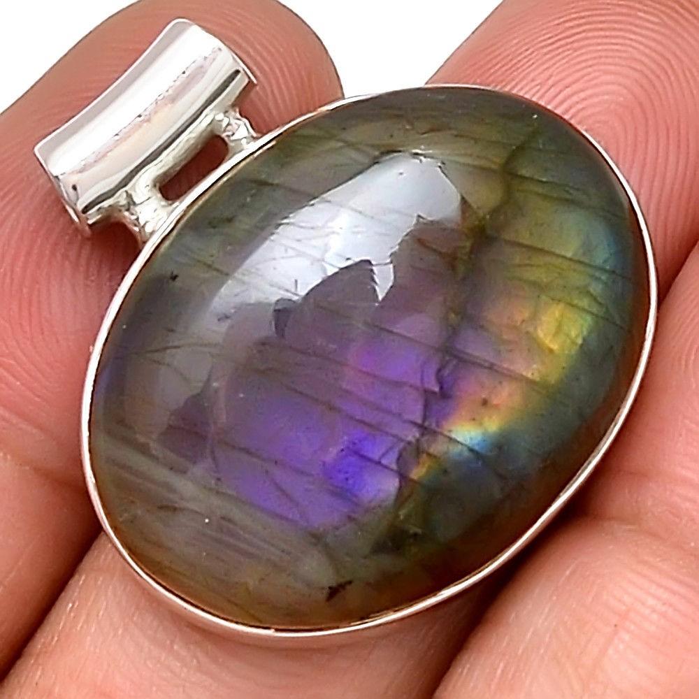 Pendentif protection labradorite violet très rare! Monture argent 925 ref 4660