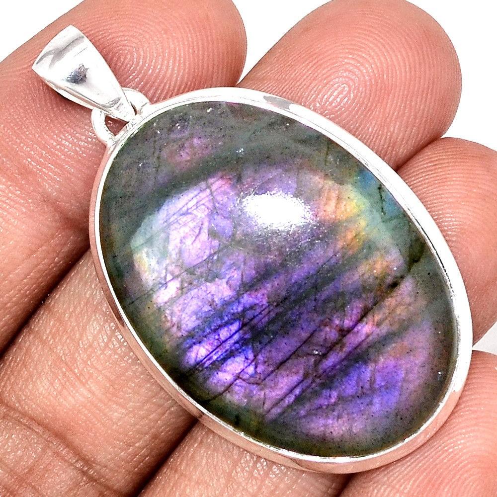Gros pendentif Labradorite violet très rare! Monture argent 925 ref 8898