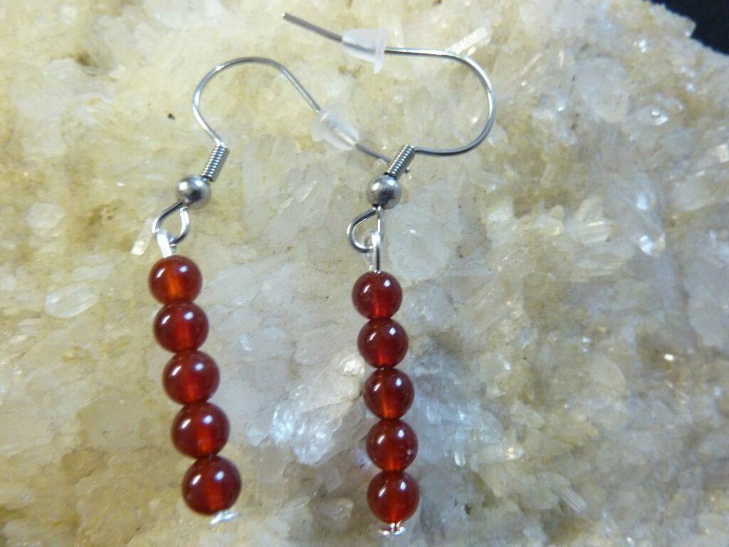 Boucles d'oreilles Cornaline agate rouge