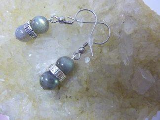 Boucles d'oreilles Labradorite perles 8 mm