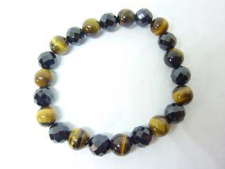 Bracelet Oeil de tigre-Spinelle noir à facettes perles 8 mm