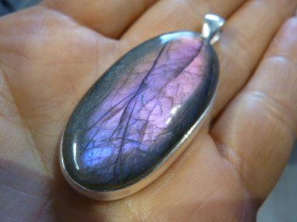 Gros pendentif Labradorite violet très rare! Monture argent 925 ref 632