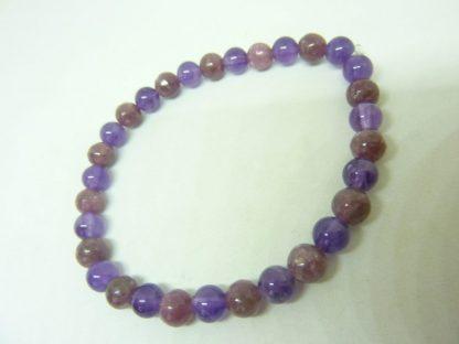 Bracelet anti stress Lépidolite-Améthyste perles rondes 6 mm