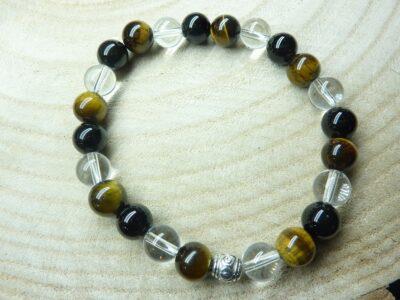 Bracelet quartz cristal de roche-Oeil de tigre-Tourmaline noire - 8 mm