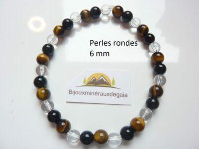 Bracelet quartz cristal de roche-Oeil de tigre-Tourmaline noire perles rondes 6 mm