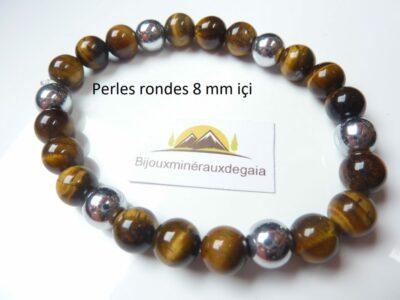 Bracelet Hématite-Oeil de tigre perles rondes 8 mm