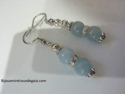Boucles d'oreilles Aigue marine-Perles rondes 8 mm