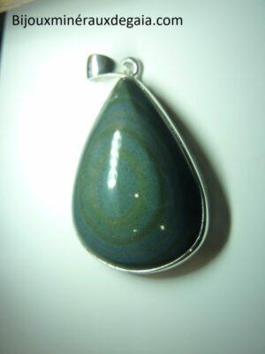 Pendentif Obsidienne oeil céleste monture argent 925 ref 5664