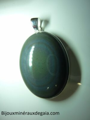 Pendentif Obsidienne oeil céleste monture argent 925 ref 5999