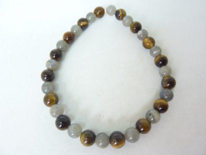 Bracelet oeil de tigre,labradorite perles 6 mm