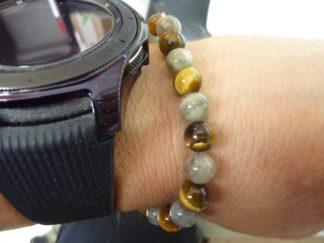 Bracelet oeil de tigre,labradorite perles 8 mm