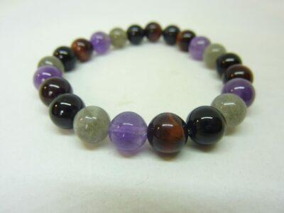 Bracelet Labradorite-tourmaline noir-oeil de taureau-améthyste-perles 8 mm