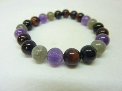 Bracelet amethyste,tourmaline noir,oeil de taureau,labradorite perles 8mm