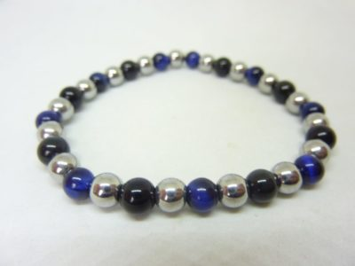 Bracelet obsidienne oeil céleste-oeil de faucon-hématite 6 mm