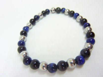 Bracelet obsidienne oeil céleste,oeil de faucon,hématite