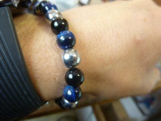 Bracelet obsidienne oeil céleste,oeil de faucon,hématite perles rondes 8 mm