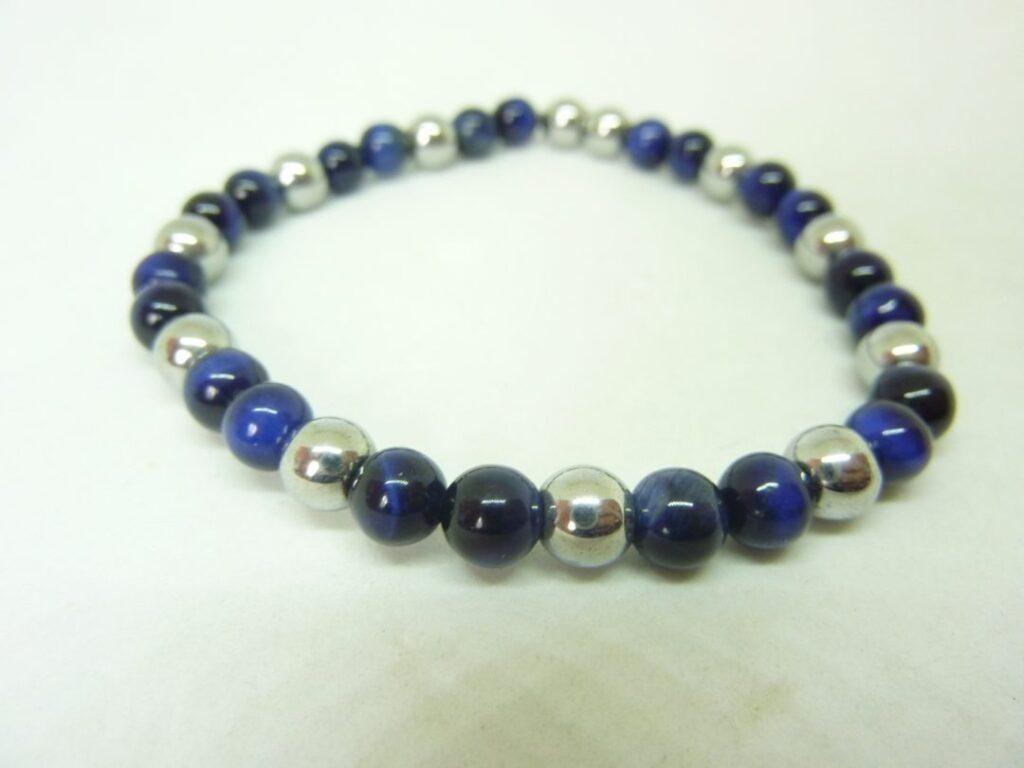 Bracelet oeil de faucon-hématite - Perles rondes 6 mm