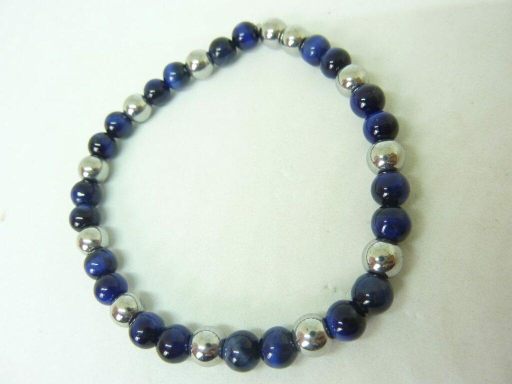 Bracelet oeil de faucon,hématite Perles rondes 6 mm