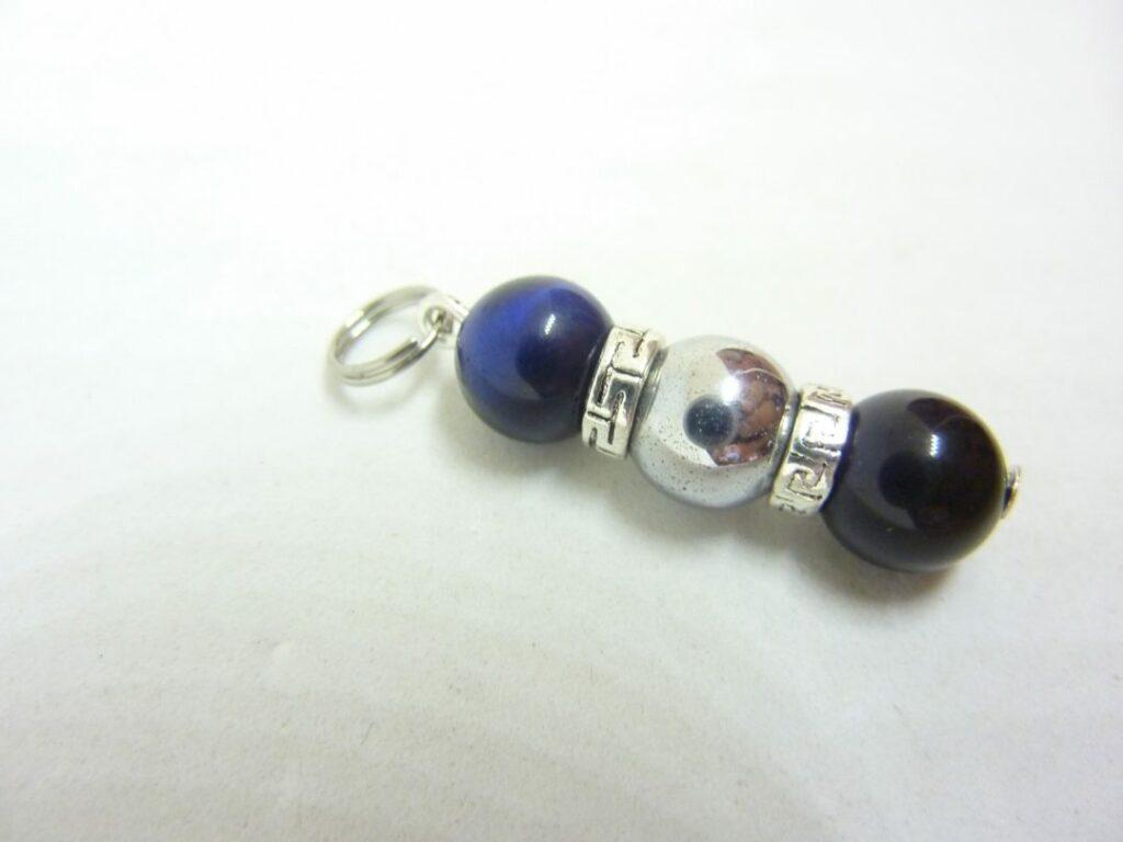 Pendentif obsidienne oeil céleste,oeil de faucon,hématite perles rondes 8 mm