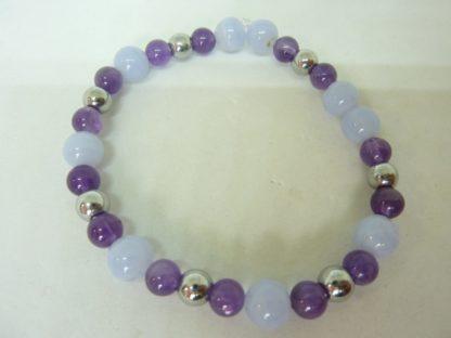 Bracelet Calcédoine bleue,amethyste,hématite