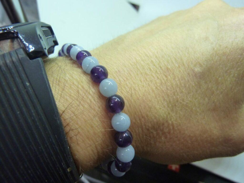Bracelet Améthyste,angélite Paix et protection