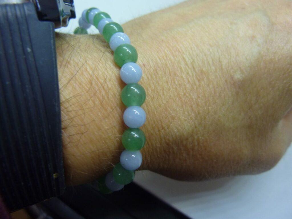 Bracelet aventurine,angélite perles rondes 6 mm