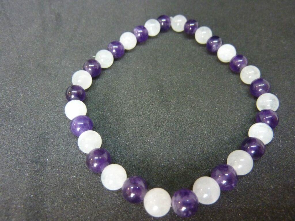 Bracelet améthyste,Pierre de lune Paix et intuition