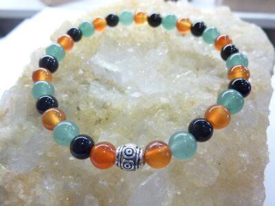 Bracelet Tourmaline noire-cornaline-aventure verte