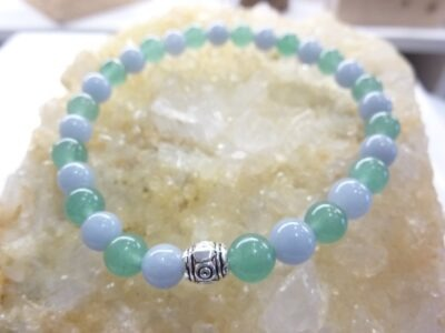 Bracelet aventurine-angélite perles rondes 6 mm