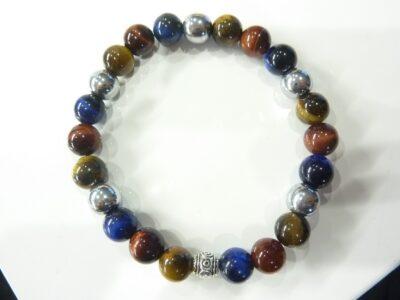 Bracelet Oeil de tigre-faucon-taureau-hématite perles 8 mm