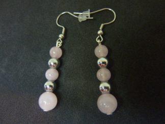 Boucles d'oreilles Hématite-quartz rose joie estime