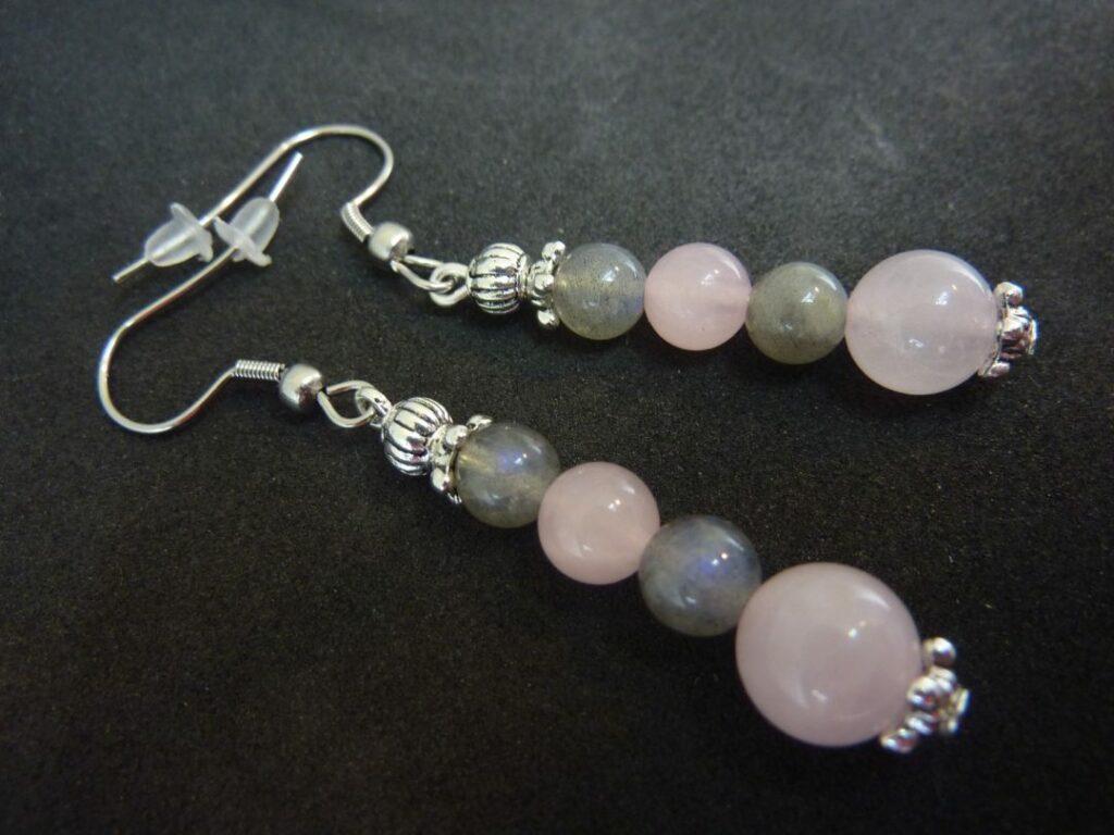 Boucles d'oreilles Labradorite-quartz rose joie protection