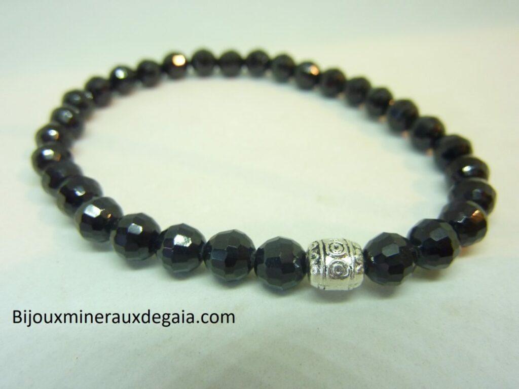 Bracelet spinelle noir perles à facettes 6 mm