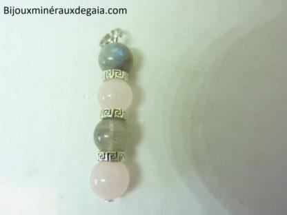Pendentif Labradorite-quartz rose perles rondes 8 mm