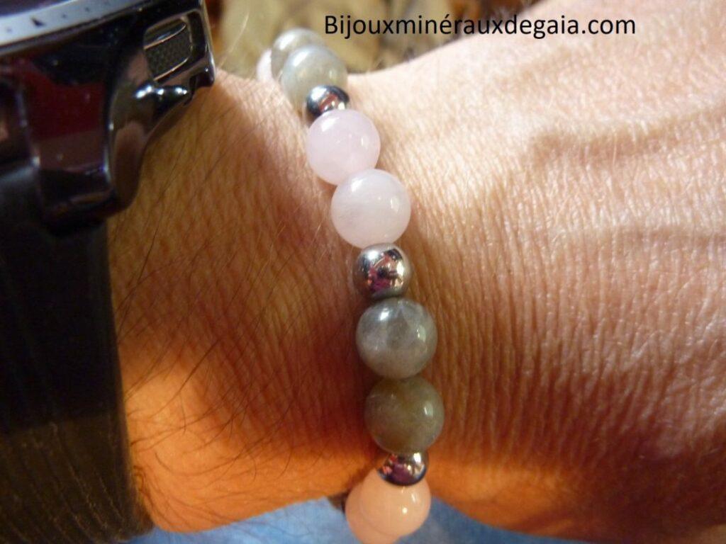 Bracelet Labradorite-hématite-quartz rose perles rondes 8 mm