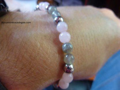 Bracelet Labradorite-hématite-quartz rose perles rondes 6 mm