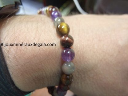 Bracelet Labradorite-oeil de taureau-oeil de tigre-améthyste-perles 6 mm