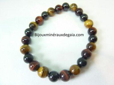 Bracelet Oeil de tigre-spinelle noir-oeil de taureau-perles 8 mm