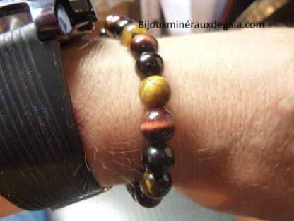 Bracelet Oeil de tigre,spinelle noir,oeil de taureau perles 8 mm