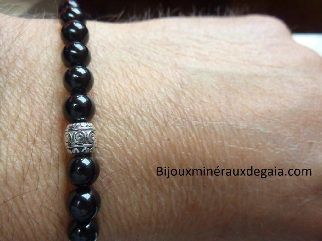 Bracelet spinelle noir-perles rondes 6 mm qualité AA