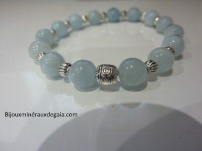 Bracelet aigue marine-Perles rondes 8 mm