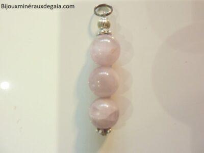Pendentif Kunzite-Perles rondes 10 mm